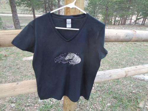 Black t-shirt with custom embroidered horse.