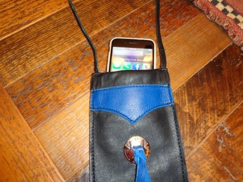 Small blue and black leather bag.