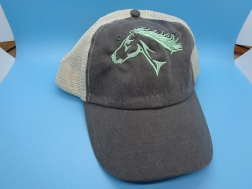 Hat with embroidered horse head.