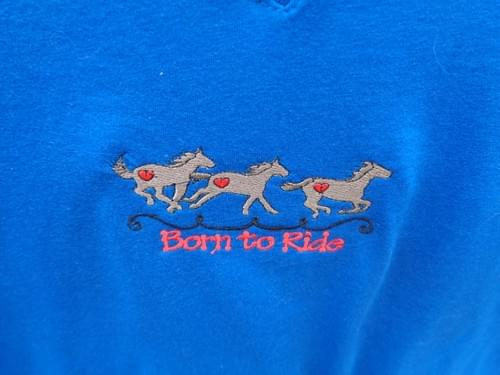 "Blue Women's Size M ""Born to Ride""  t-shirt."