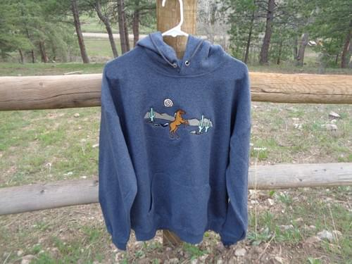 Women's Large sweatshirt with custom embroidery.