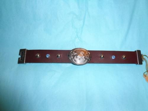 Brown leather bracelet with horse.
