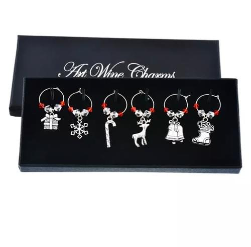 Festive wine glass charms gift box