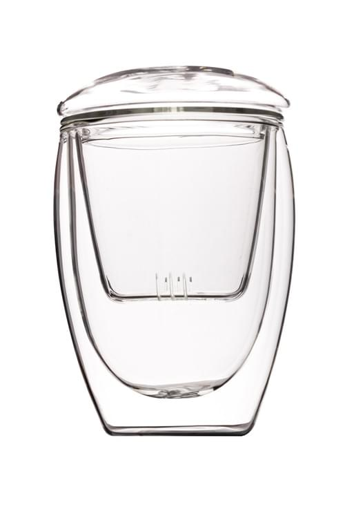 350ml Glass Cup with Glass Infuser and Glass Saucer
