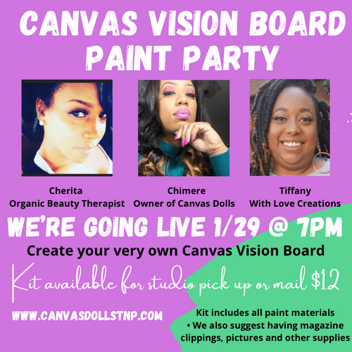 Canvas Vision Board Party: Join us as we GO LIVE ON FACEBOOK