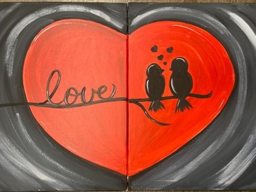 Couples: Love Birds Paint Party Kit