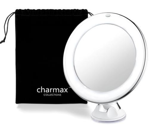 Charmax 7倍拡大鏡 ライト付き 髭剃り メイクミラー 浴室鏡 化粧鏡 360度回転 吸盤ロック付き コードレス 旅行 出張 LEDミラー(円型)