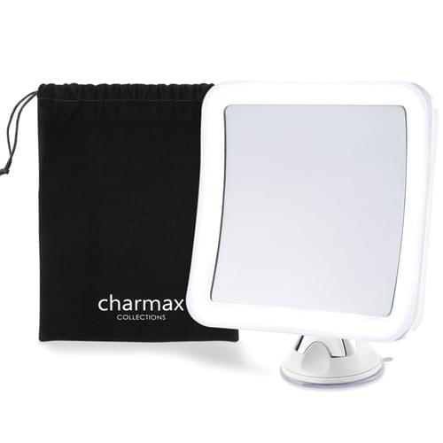 Charmax 7倍拡大鏡 ライト付き 髭剃り メイクミラー 浴室鏡 化粧鏡 360度回転 吸盤ロック付き コードレス 旅行 出張 LEDミラー(四角型)