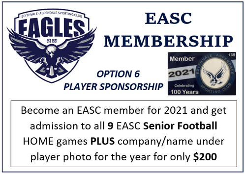 2021 Club Membership & Player Sponsor ship