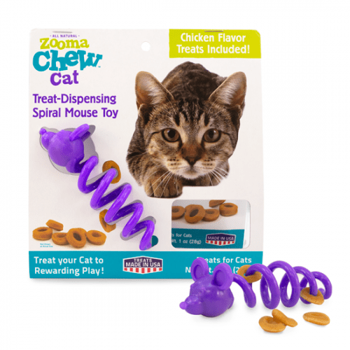 Zooma Chew Treat- Dispensing spiral Mouse & Treats
