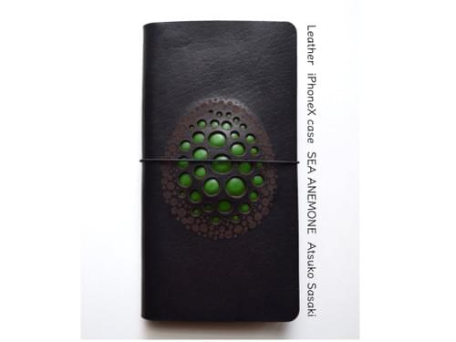 Leather iPhone X case *egg green