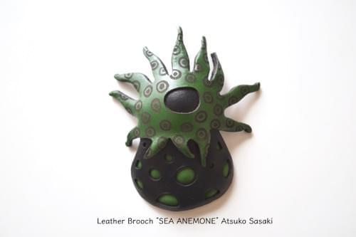 brooch sea anemone green