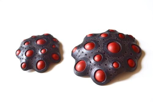 small brooch coral red