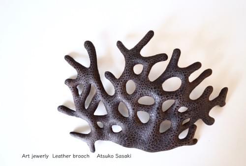 brooch black coral 19cm