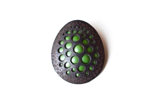 Leather brooch oval*green