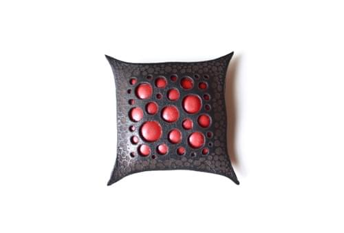 Leather brooch square*red