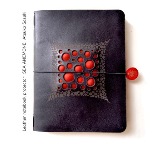 Leather notebook cover red