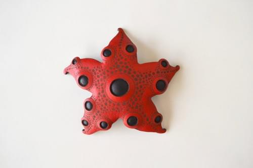 starfish brooch *red & black