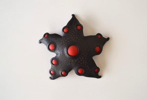 starfish brooch *black & red