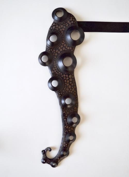 "Leather art Tie ""octopus"""