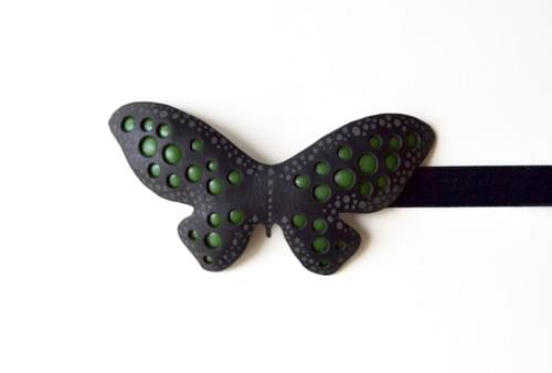 clip-on bow tie basic  butterfly green