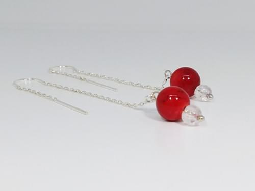 Red Coral Drop Earring