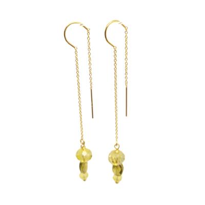 Peridot Long Drop Earrings