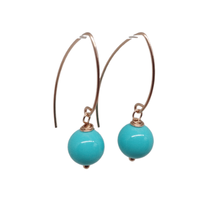 Turquoise Rose Gold Drop Earrings