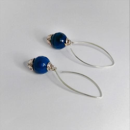 Deep Blue Agate Sterling Silver Drop Earring