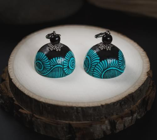 Quilled Jumkas(1) - 1st Anniversary Turquoise Paper Earrings Gift For Her - Hand Painted Earrings