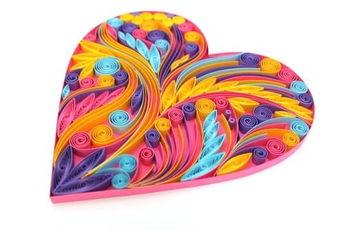 Heart - 1st Anniversary Heart Paper Quilling Art Work Gift - Pink Heart Paper Quilled Art Work