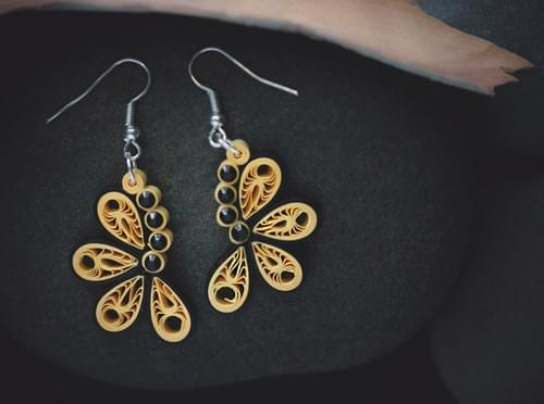 Teetal (Butterfly) - Paper Quilling Earrings - 1st Anniversary Gift For Her - Paper Quilled Jewelry  1