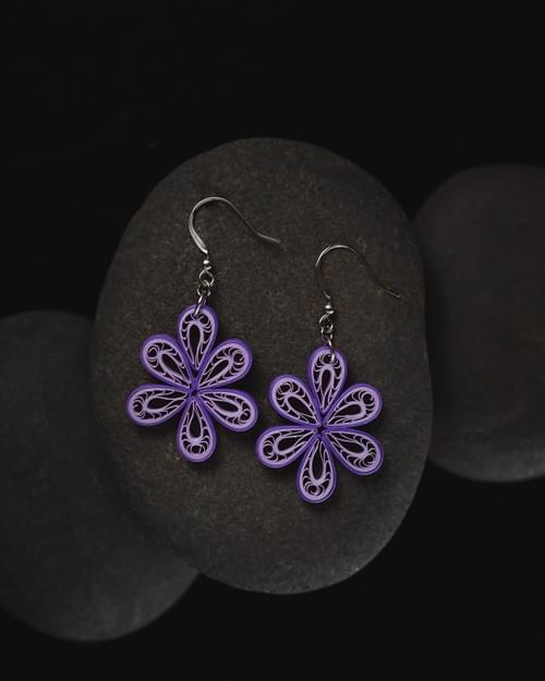 Vrista - Purple Filigree Teardrop Paper Quilling Earrings -One Year Anniversary Gift  -Paper Jewelry 1