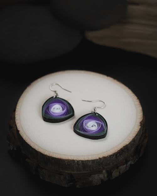 Karnika(Whorl) - Purple Geometric Paper Quilling Earrings - One Year Anniversary Gift -Gifts for Mom