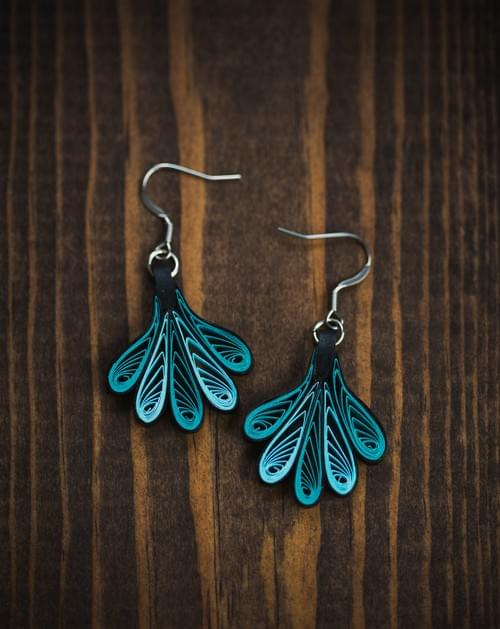 Waja - Wing/Quilling/ Paper Quilling Earrings/ Paper Earrings/ Quilling Earrings/ Aqua/ Earrings