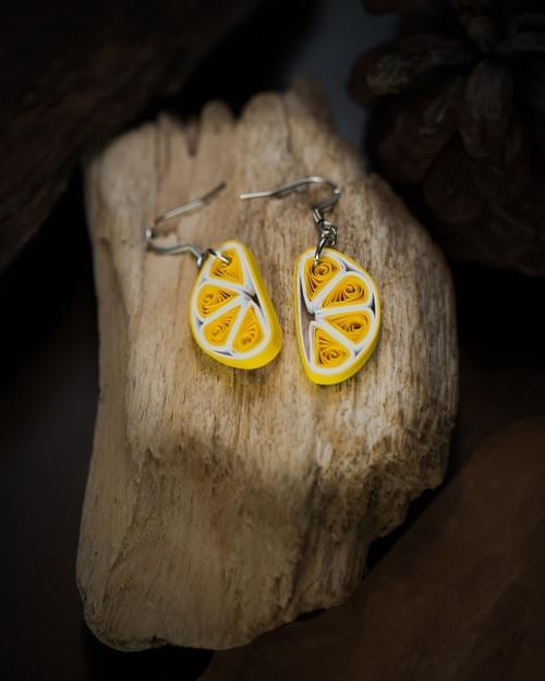 Nimbu - Lemon Fruit 1st anniversary Paper Quilling Earrings Gift   - Summer Beach Earrings