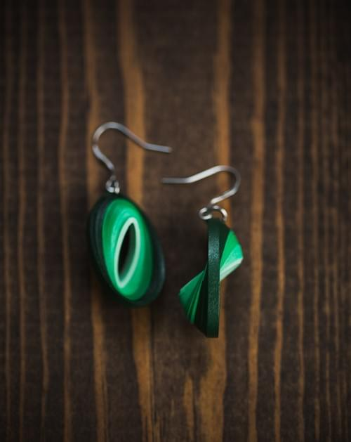 Haritha - Green Earrings/Jade Green Earrings/1st Anniversary gift/Paper Anniversary Gift/3D Earrings