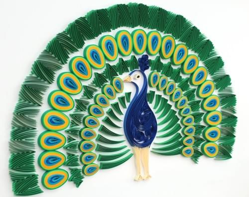 Peacock 1st Anniversary Gift Paper Quilling Wall Art - Paper Quilled Peacock Framed Art Work  1