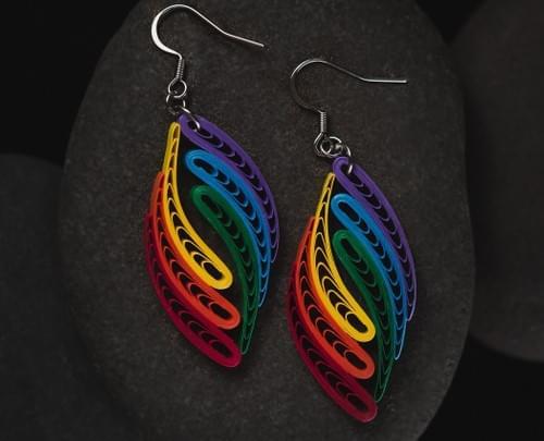 Relic Rainbow Gay Pride Paper Earrings - LGBTQ Lesbian Pride Rainbow Earrings - Statement Earrings