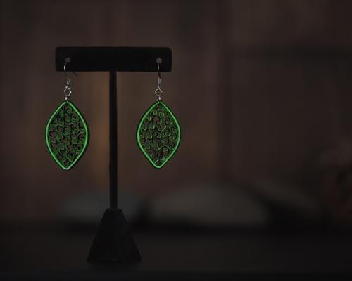 Saundarya(Beauty) - Jade Green Long Paper Quilling Earrings - Summer Boho Dangle Earrings  1