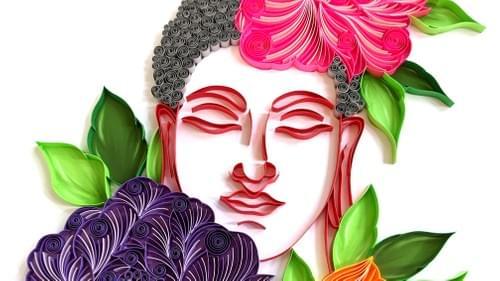 Paper Quilled Buddha Art Work - Paper Quilled Art - 1st Anniversary Gift - Yoga Studio Decor