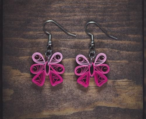 Patala(Pink) - Pink Bow Paper Quilling Earrings - 1st Anniversary Gift For Her - Paper jewelry