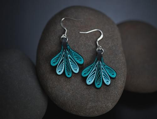 Waja(Wing) - Turquoise Aqua Paper Quilling Earrings - 1st Anniversary Gift For Her - Paper Jewelry