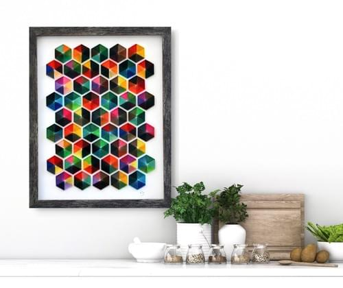 Sea Of Colors - Hexagon Geometric Abstract Art Decor