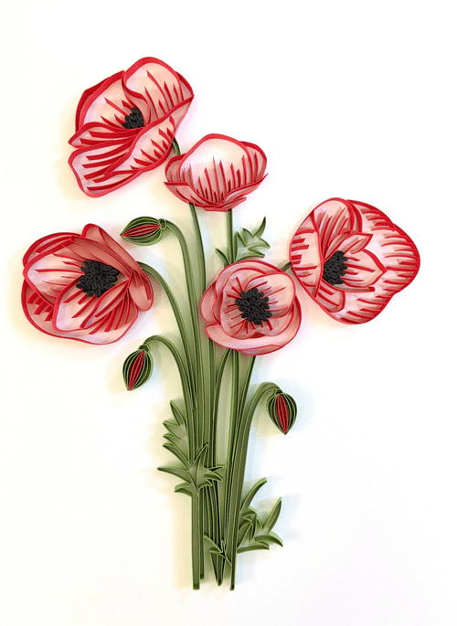 Poppies Art - Paper Quilling Poppies Art Decor - Poppies Home Decor Art