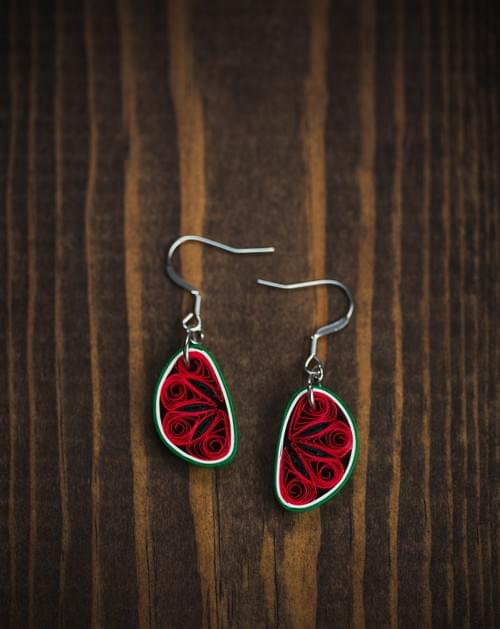 Kaligga - Watermelon Fruit Earrings - Paper Quilling Earrings - Paper Quilled Fruit Jewelry