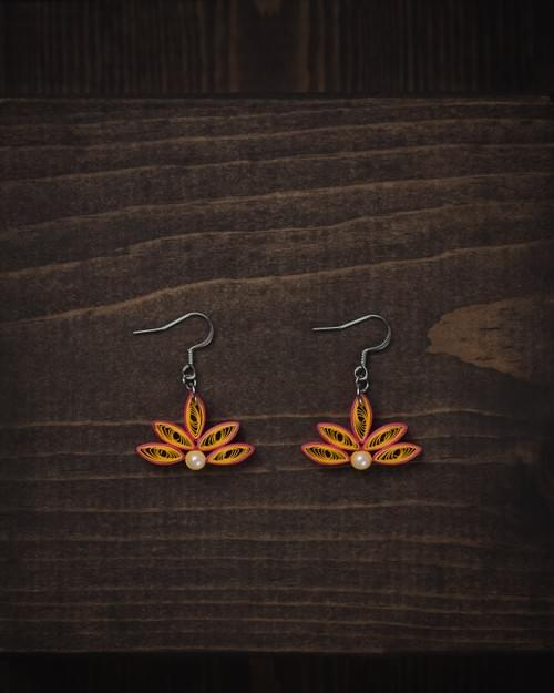 Jalaja(Lotus) - Golden Lotus Paper Quilling Earrings - 1st Anniversary Gift For Her