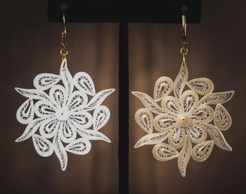 1st Anniversary Paper Quilling Earrings Gift For Her - Gold Paper Earrings -Snow Flake Earrings 1