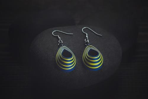 Yodha - Warrior Blue Paper Quilling Earrings - 1st Anniversary Gift For Her - Paper Quilling Jewelry