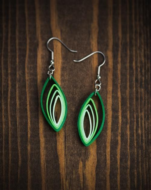 Palash - Green 1st Anniversary Paper Quilling Earrings Gift - Paper Quilled Jewelry - Mother's Day
